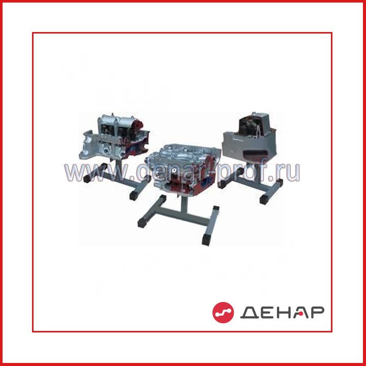 Комплект препарированных головок двигателя, представляющих различные типы ГРМ